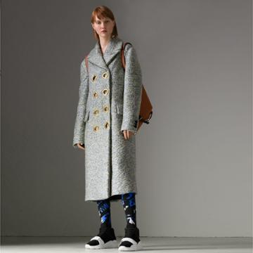 Burberry Burberry Laminated Cashmere Double-breasted Coat, Size: 00, Green