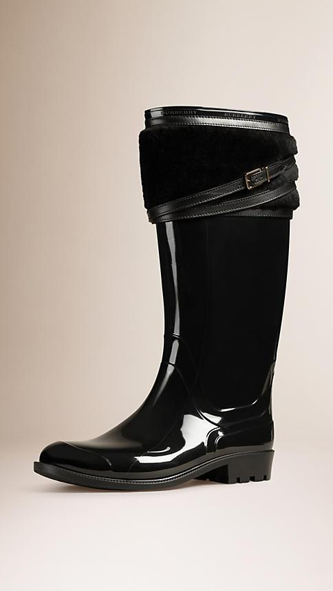 Burberry Shearling Trim Rain Boots
