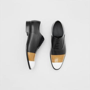 Burberry Burberry Tape Detail Leather Oxford Shoes, Size: 44, Black