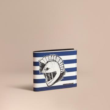 Burberry Burberry Striped London Leather Folding Wallet With Pallas Helmet Motif, Blue
