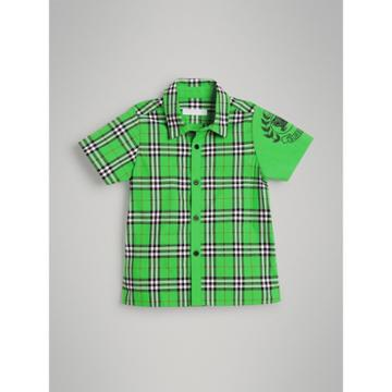 Burberry Burberry Childrens Short-sleeve Archive Logo Detail Check Cotton Shirt, Size: 4y, Green