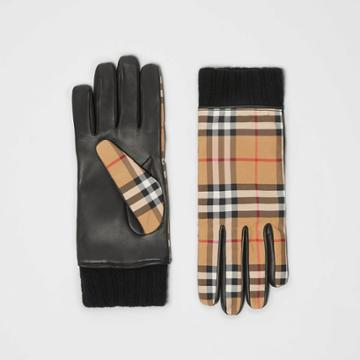 Burberry Burberry Cashmere-lined Vintage Check And Lambskin Gloves, Size: 8, Yellow