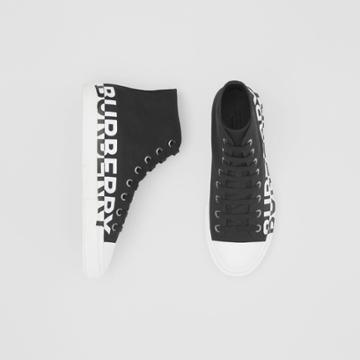 Burberry Burberry Logo Print Cotton Gabardine High-top Sneakers, Size: 41.5, Black