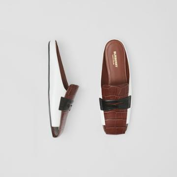 Burberry Burberry Tri-tone Loafer Detail Leather Mules, Size: 38