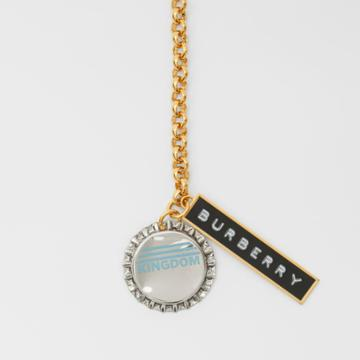 Burberry Burberry Bottle Cap And Logo Tag Gold-plated Chain Necklace, Light Gold