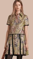 Burberry Metallic Floral Jacquard Shirt Dress