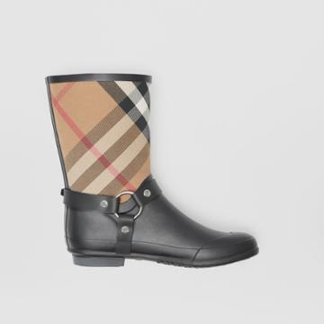 Burberry Burberry Buckle And Strap Detail Check Rain Boots, Size: 35, Black