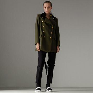Burberry Burberry Velvet Collar Wool Military Coat, Size: 08, Green
