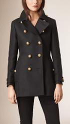 Burberry Brit Cotton Wool Blend Military Coat