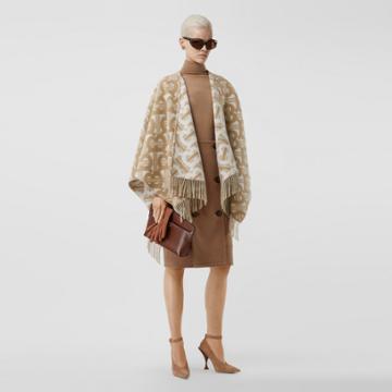 Burberry Burberry Monogram Merino Wool Cashmere Jacquard Cape, Size: Os, Beige