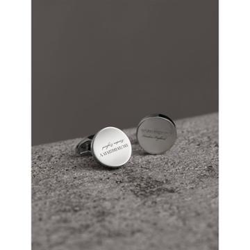 Burberry Burberry Engraved Motif Round Cufflinks, Grey