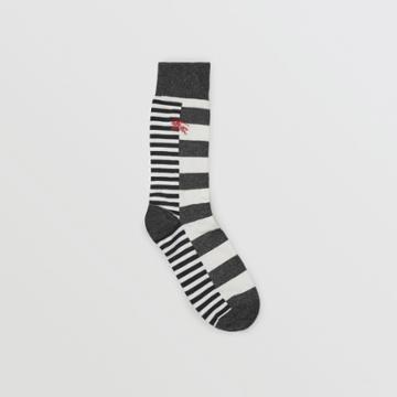 Burberry Burberry Contrast Stripe Cotton Blend Socks, White