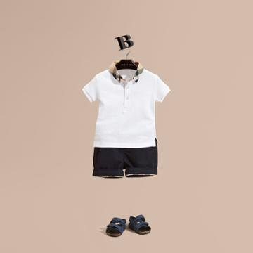 Burberry Burberry Check Collar Cotton Polo Shirt, Size: 2y, White