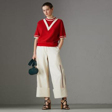 Burberry Burberry Stripe Detail Cotton Terry Top, Red