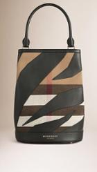 Burberry The Bucket Bag In Canvas Check And Leather