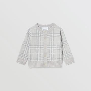 Burberry Burberry Childrens Check Merino Wool Jacquard Cardigan, Size: 2y, Grey