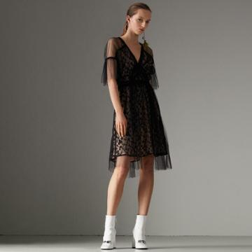 Burberry Burberry Ruffled Hem Embroidered Tulle Dress, Size: 14, Black