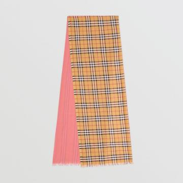 Burberry Burberry Vintage Check Colour Block Wool Silk Scarf, Pink
