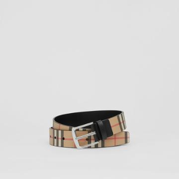Burberry Burberry Vintage Check E-canvas And Leather Belt, Size: 85, Beige