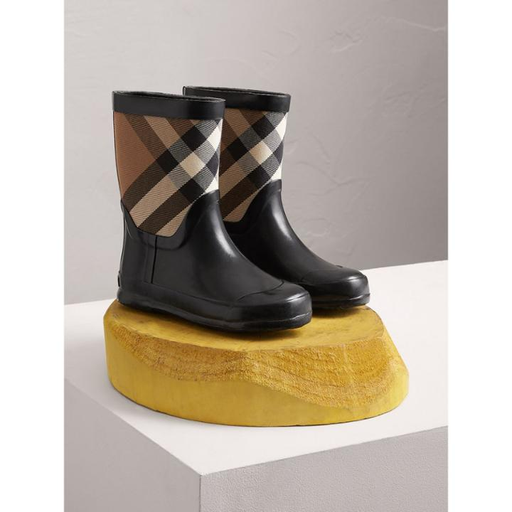 Burberry Burberry House Check Panel Rain Boots, Size: 30, Black