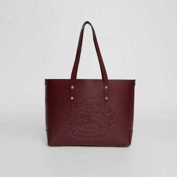 Burberry Burberry Small Embossed Crest Leather Tote, Red