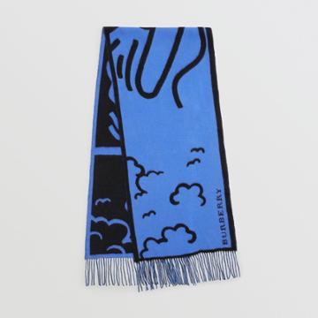Burberry Burberry London Street Art Wool Cashmere Jacquard Scarf, Blue