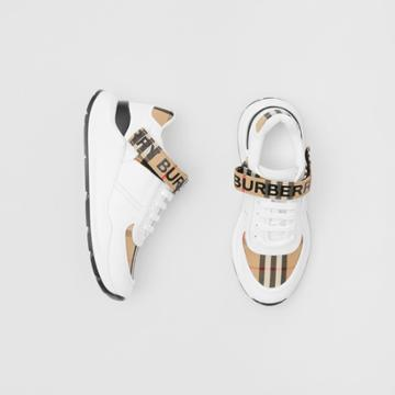 Burberry Burberry Logo Print Vintage Check And Leather Sneakers, Size: 38, Beige