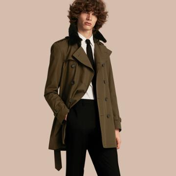 Burberry Burberry Shearling Topcollar Cotton Gabardine Trench Coat With Warmer, Size: 38, Green