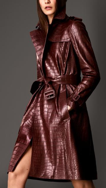 Burberry Burberry Alligator Wrap Trench Coat, Size: 10, Red