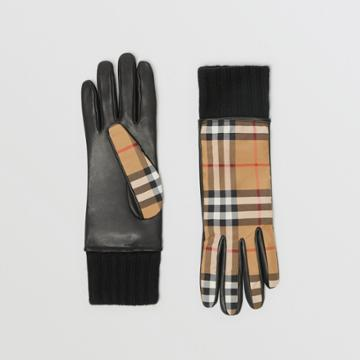 Burberry Burberry Cashmere-lined Vintage Check And Lambskin Gloves, Size: 7, Yellow