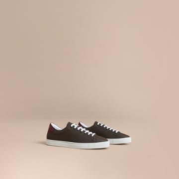 Burberry Burberry Perforated Check Leather Trainers, Size: 42, Brown