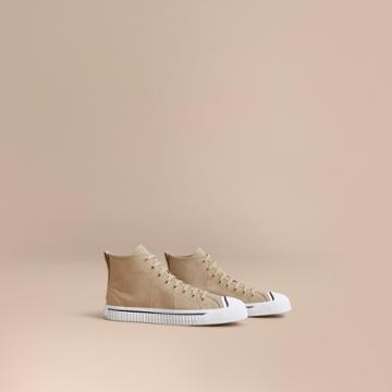 Burberry Burberry Topstitch Cotton Gabardine High-top Trainers, Size: 41, Yellow