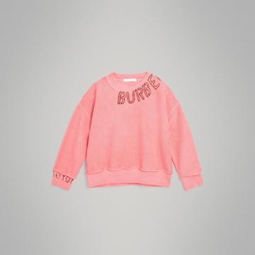 Burberry Burberry Childrens Stencil Logo Print Cotton Sweatshirt, Size: 14y, Pink
