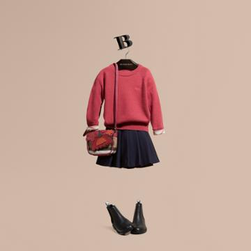 Burberry Burberry Check Cuff Cashmere Sweater, Size: 8y, Pink