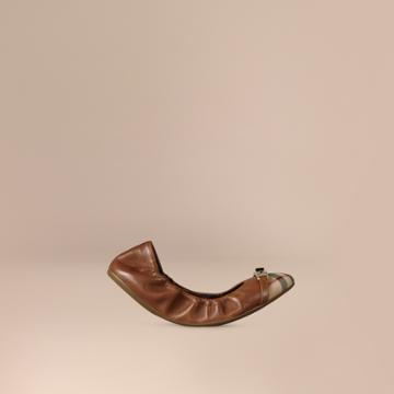 Burberry Burberry Horseferry Check Leather Ballerinas, Size: 38, Brown