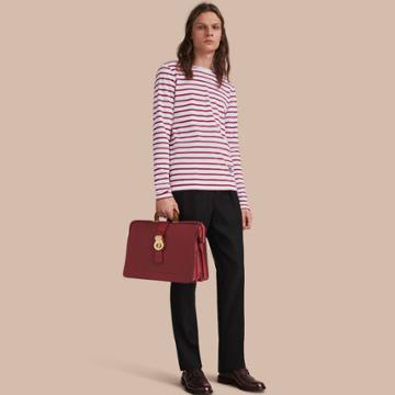 Burberry Burberry Unisex Breton Stripe Cotton Top With Pallas Heads Motif, Size: Xxs, Red