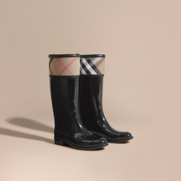 Burberry Burberry House Check Rain Boots, Size: 40, Black