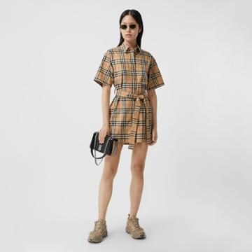 Burberry Burberry Zebra Appliqu Vintage Check Cotton Twill Shirt Dress, Size: 06