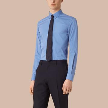 Burberry Burberry Slim Fit Button-down Collar Stretch-cotton Shirt, Size: 17, Blue