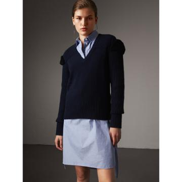 Burberry Burberry Shearling Trim Ribbed Wool Cashmere Sweater, Blue