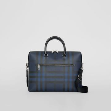 Burberry Burberry London Check And Leather Briefcase, Blue