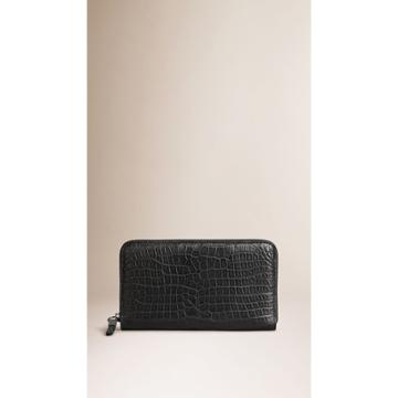 Burberry Burberry Alligator Ziparound Wallet, Black