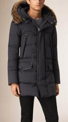 Burberry Down-filled Parka Coat With Fur Trimmed Hood