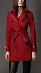 Burberry Cotton Gabardine Leather Detail Trench Coat