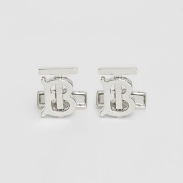 Burberry Burberry Monogram Motif Palladium-plated Cufflinks, Grey