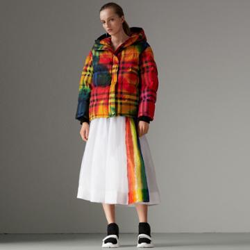 Burberry Burberry Rainbow Print Organdie Cotton Skirt, Size: 00