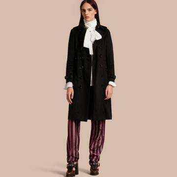 Burberry Burberry Sandringham Fit Cashmere Trench Coat, Size: 12, Black