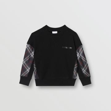 Burberry Burberry Childrens Vintage Check Panel Cotton Sweatshirt, Size: 14y, Black