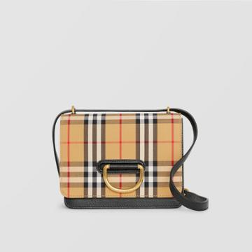 Burberry Burberry The Small Vintage Check And Leather D-ring Bag, Black