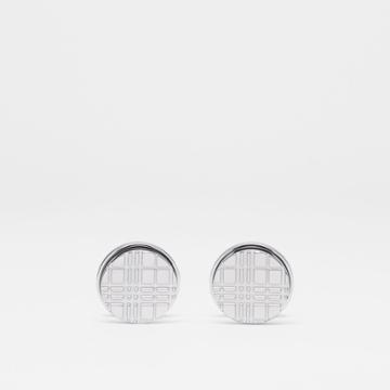 Burberry Burberry Palladium-plated Check-engraved Round Cufflinks, Grey